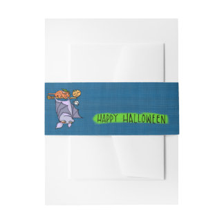 Grouchy Bat Cat Halloween Invitation Belly Band
