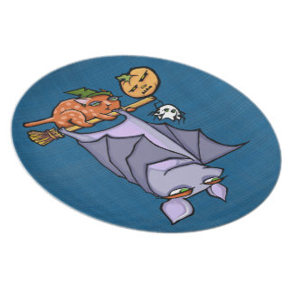 Grouchy Bat Cat Halloween Melamine Plate