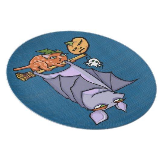 Grouchy Bat Cat Halloween Melamine Plate