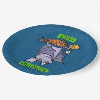 Grouchy Bat Cat Halloween Paper Plates 9""