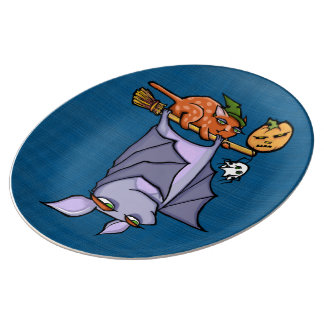 Grouchy Bat Cat Halloween Porcelain Plate