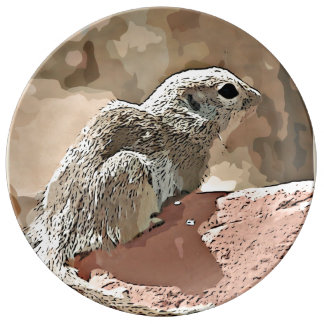 Ground Squirrel in Cartoon Decorative Plate Porcelain Plates