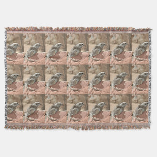 Ground Squirrel in Cartoon Throw Blanket