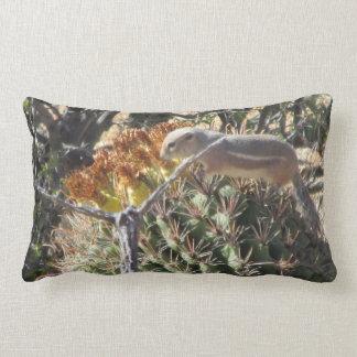 Ground Squirrel on Barrel Cactus Throw Pillows