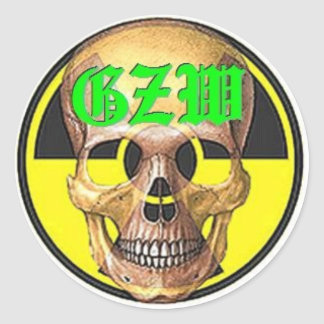 Ground Zero Warhead green skull Classic Round Sticker