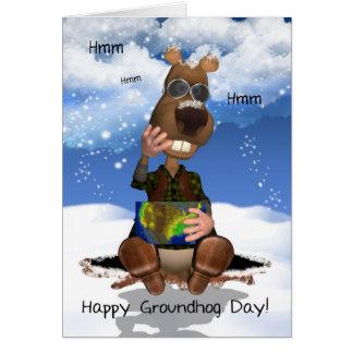 Groundhog Day Greeting Card Groundhog Thinking