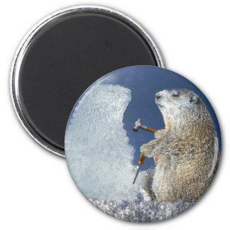 Groundhog Day Ice Sculpture 6 Cm Round Magnet