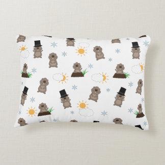 Groundhog Day Pattern Decorative Cushion