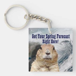 Groundhog Spring Forecast Key Ring