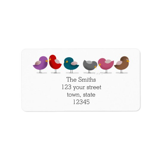 Group Birds Cartoon Family Friends Simple White Label