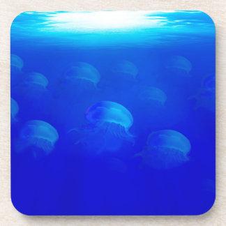 Group blue jellyfish in the Atlantic ocean swiming Drink Coaster