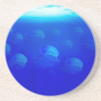 Group blue jellyfish in the Atlantic ocean swiming Drink Coasters