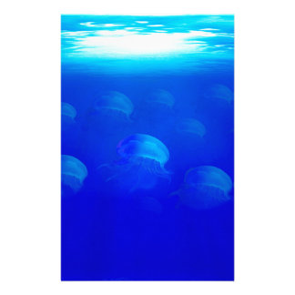 Group blue jellyfish in the Atlantic ocean swiming Stationery