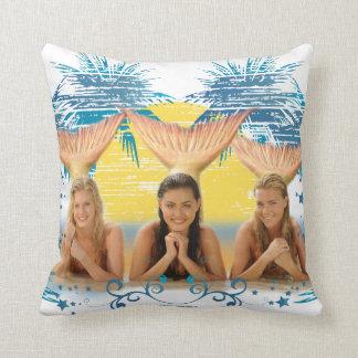 Group Blue Palm Tree Graphic Throw Cushion