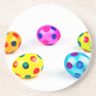 Group colorful painted chicken easter eggs coaster