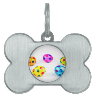 Group colorful painted chicken easter eggs pet ID tag
