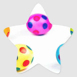 Group colorful painted chicken easter eggs star sticker