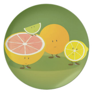 Group of citrus characters plate