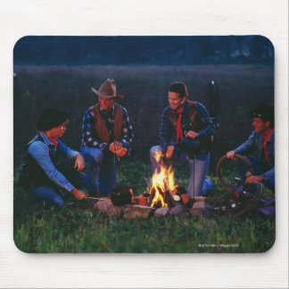 Group of cowboys around campfire mouse pad