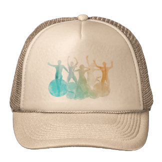 Group of Friends Jumping for Joy in Watercolor Cap