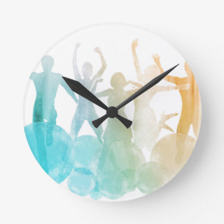 Group of Friends Jumping for Joy in Watercolor Clocks