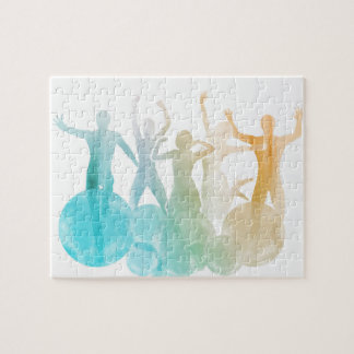 Group of Friends Jumping for Joy in Watercolor Jigsaw Puzzle
