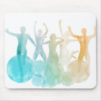 Group of Friends Jumping for Joy in Watercolor Mouse Pad