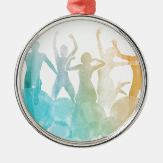 Group of Friends Jumping for Joy in Watercolor Silver-Colored Round Decoration