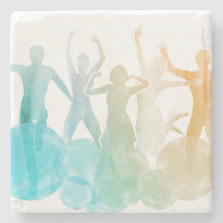 Group of Friends Jumping for Joy in Watercolor Stone Coaster