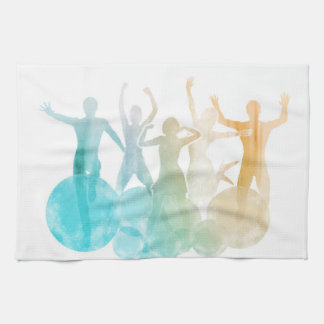 Group of Friends Jumping for Joy in Watercolor Tea Towel
