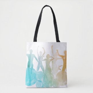 Group of Friends Jumping for Joy in Watercolor Tote Bag