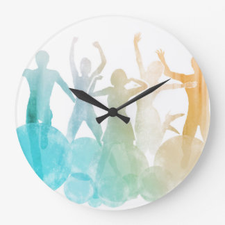 Group of Friends Jumping for Joy in Watercolor Wall Clock