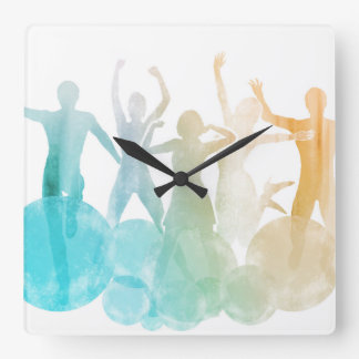 Group of Friends Jumping for Joy in Watercolor Wallclocks