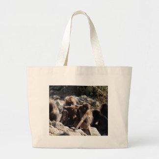 Group of gelada baboons (Theropithecus gelada) Large Tote Bag