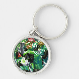Group of Green Lanterns Silver-Colored Round Key Ring