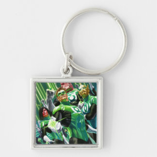Group of Green Lanterns Silver-Colored Square Key Ring
