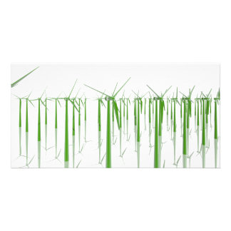 Group of green windmills customised photo card