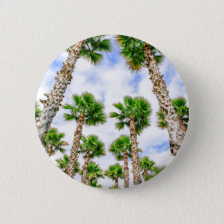 Group of high straight palm trees 6 cm round badge