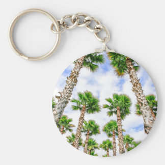 Group of high straight palm trees basic round button key ring