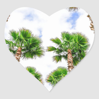 Group of high straight palm trees heart sticker