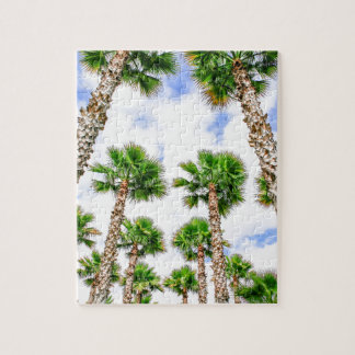 Group of high straight palm trees jigsaw puzzle