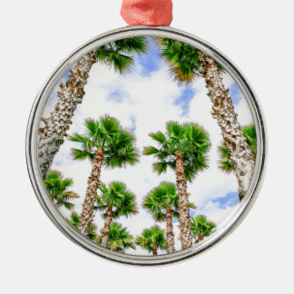 Group of high straight palm trees metal ornament
