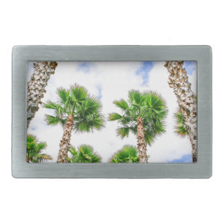 Group of high straight palm trees rectangular belt buckles