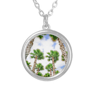 Group of high straight palm trees silver plated necklace