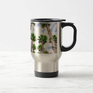 Group of high straight palm trees travel mug