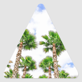 Group of high straight palm trees triangle sticker