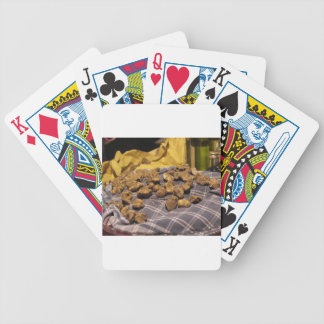 Group of italian expensive white truffles bicycle playing cards