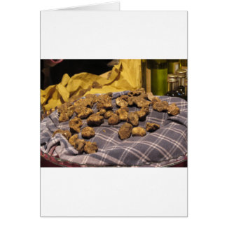 Group of italian expensive white truffles card