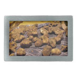Group of italian expensive white truffles rectangular belt buckle