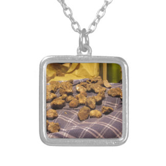 Group of italian expensive white truffles silver plated necklace